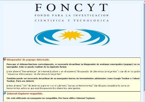 La página del FONCYT