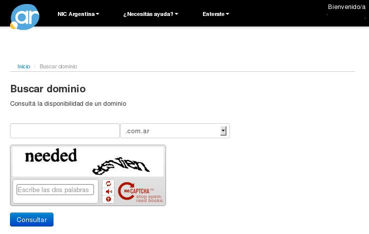NIC Argentina - Registro de Usuario - buscandodominiologueado