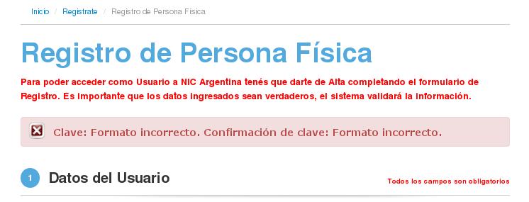 NIC Argentina - Registro de Usuario - clave incorrecta